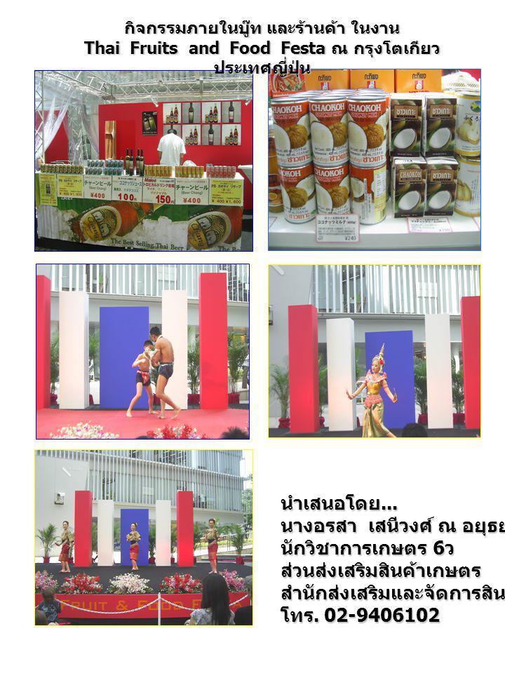 นำเสนอโดย... นางอรสา เสนีวงศ์ ณ อยุธยา นักวิชาการเกษตร 6 ว ส่วนส่งเสริมสินค้าเกษตรสำนักส่งเสริมและจัดการสินค้าเกษตร โทร. 02-9406102 กิจกรรมภายในบู๊ท แ