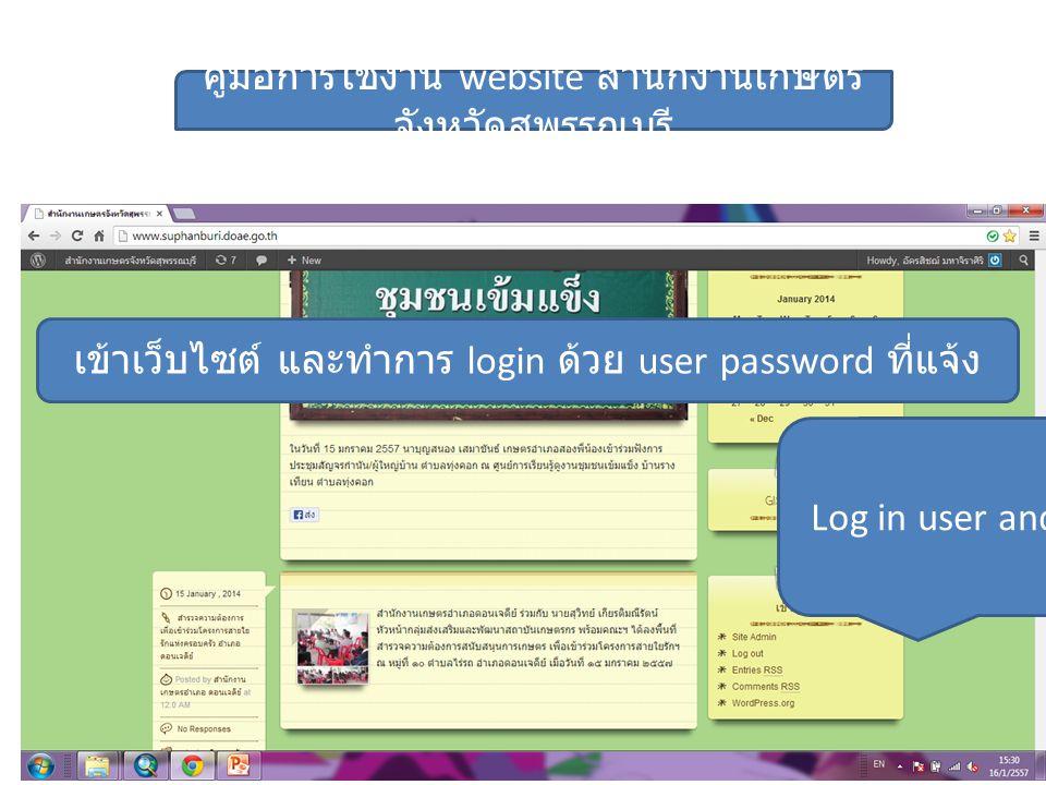 Log in user and password คู่มือการใช้งาน website สำนักงานเกษตร จังหวัดสุพรรณบุรี เข้าเว็บไซต์ และทำการ login ด้วย user password ที่แจ้ง