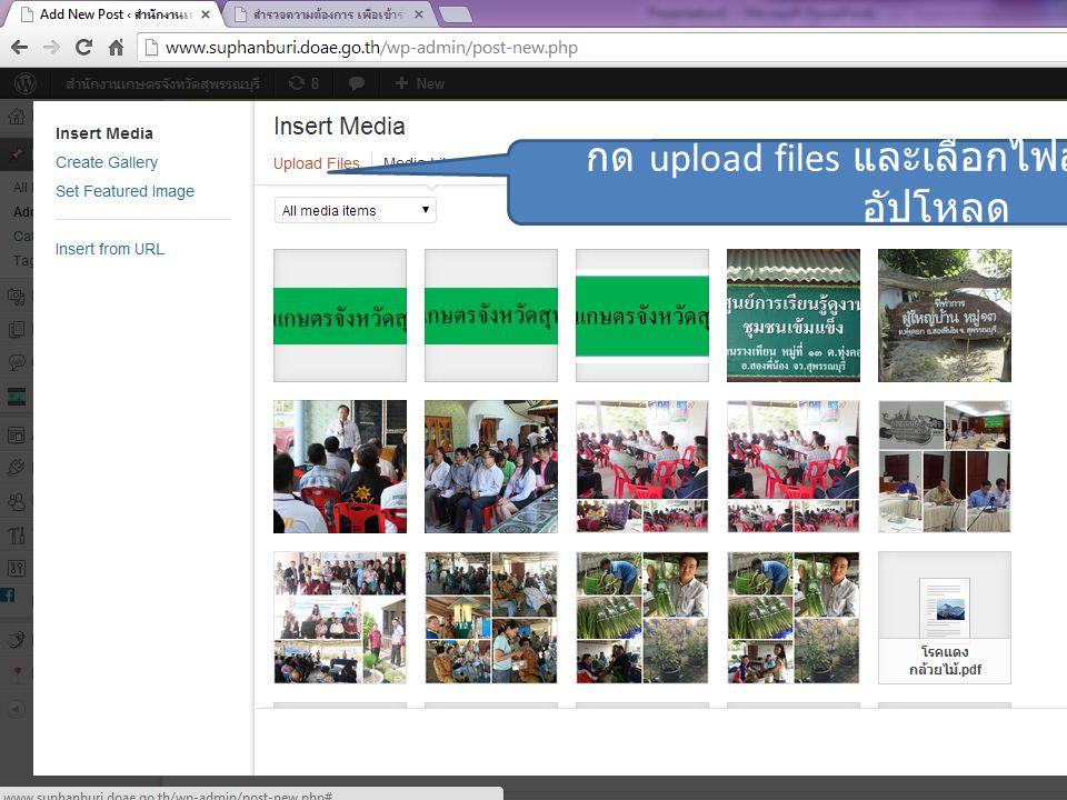 กด upload files และเลือกไฟล์รูปที่ต้องการ อัปโหลด