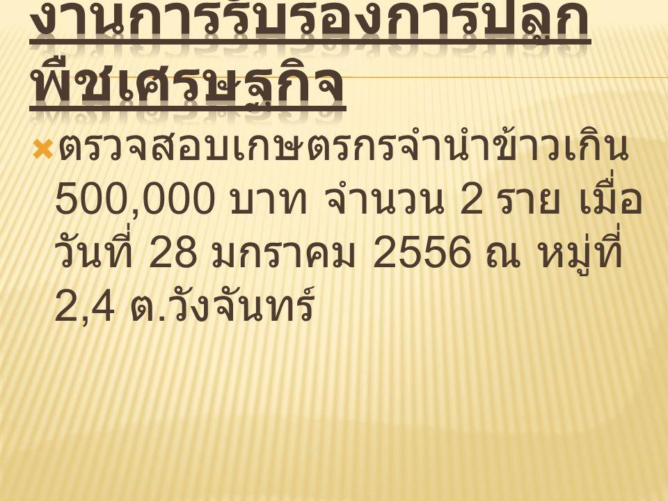  ตรวจสอบเกษตรกรจำนำข้าวเกิน 500,000 บาท จำนวน 2 ราย เมื่อ วันที่ 28 มกราคม 2556 ณ หมู่ที่ 2,4 ต. วังจันทร์