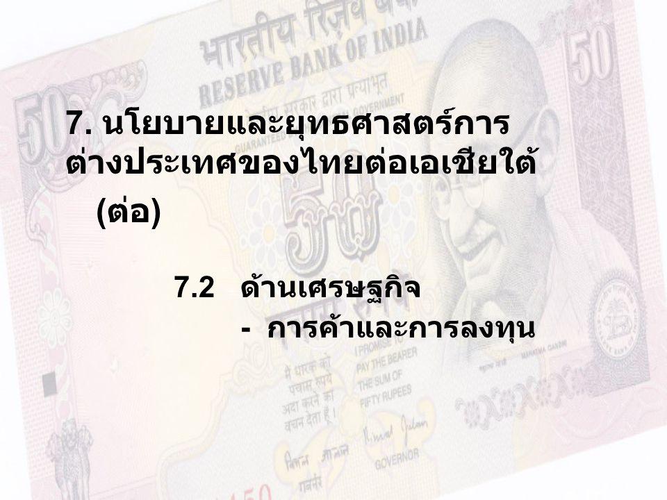 7. นโยบายและยุทธศาสตร์การ ต่างประเทศของไทยต่อเอเชียใต้ ( ต่อ ) 7.2 ด้านเศรษฐกิจ - การค้าและการลงทุน