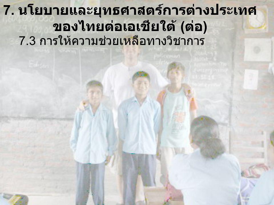 7. นโยบายและยุทธศาสตร์การต่างประเทศ ของไทยต่อเอเชียใต้ ( ต่อ ) 7.3 การให้ความช่วยเหลือทางวิชาการ