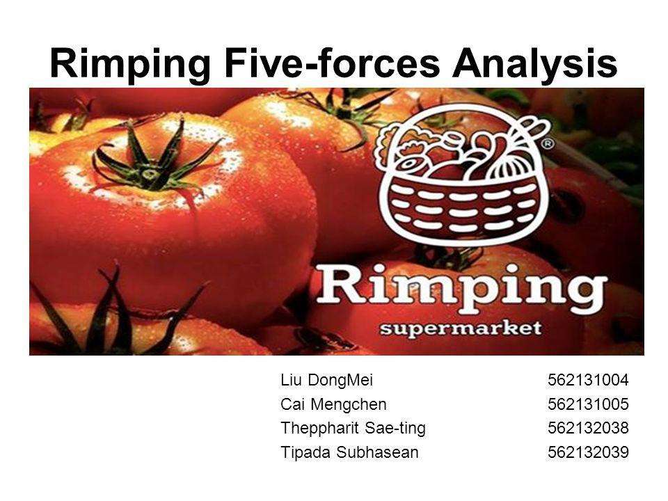 Rimping Five-forces Analysis Liu DongMei562131004 Cai Mengchen562131005 Theppharit Sae-ting562132038 Tipada Subhasean562132039
