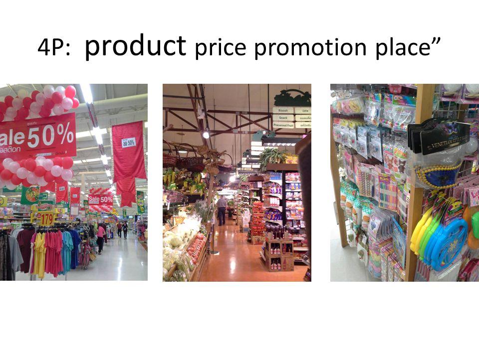 TESCO LOTUSRIMPINGDAISO เน้นสินค้า อุปโภคบริโภค ผลิตภัณฑ์ที่ หลากหลาย มีสินค้ายกโหล มีเคาน์เตอร์ เซอร์วิส เน้นสินค้าจาก ต่างประเทศ มีครัวเบเกอรี่ ขนาด ย่อม เป็นสินค้าที่มี คุณภาพ มีสินค้าท้องถิ่น สินค้าญี่ปุ่น ไม่ มีขายทั่วไปใน ท้องตลาด มีความ หลากหลายของ สินค้า 4P: product price promotion place