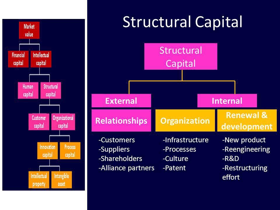 Structural Capital ExternalInternal -Customers -Suppliers -Shareholders -Alliance partners -Infrastructure -Processes -Culture -Patent -New product -R
