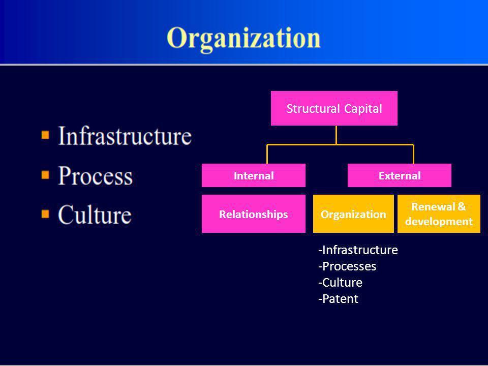 Structural Capital InternalExternal RelationshipsOrganization Renewal & development -Infrastructure -Processes -Culture -Patent