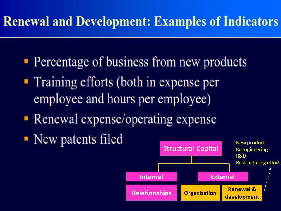 Structural Capital InternalExternal Relationships Organization Renewal & development -New product -Reengineering -R&D -Restructuring effort