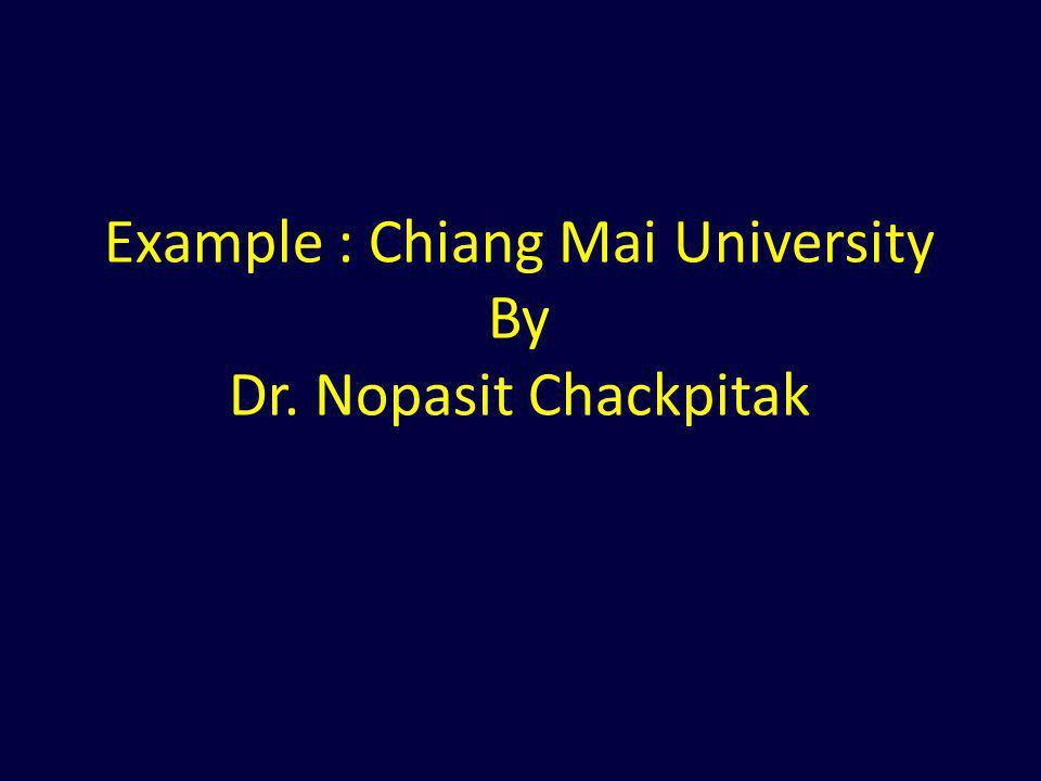 Example : Chiang Mai University By Dr. Nopasit Chackpitak