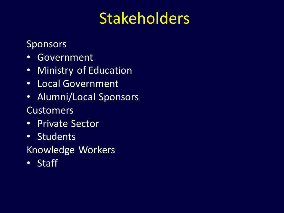 Stakeholders Sponsors Government Ministry of Education Local Government Alumni/Local Sponsors Customers Private Sector Students Knowledge Workers Staf