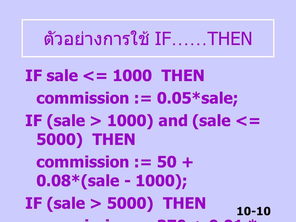 10-9 ตัวอย่างการใช้ IF …… THEN 2. บริษัทมีเงื่อนไขการจ่ายคอมมิส ชันดังนี้ – ถ้าขายไม่เกิน 1000 บาท ได้คอม มิสชัน 5% ของยอดขาย – ถ้าขายระหว่าง 1001 ถึง
