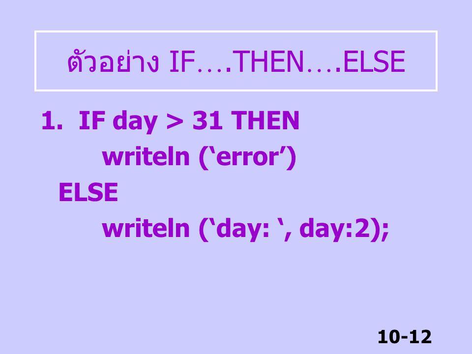 10-11 IF …… THEN …..ELSE รูปแบบ IF condition THEN begin statement (s); end ELSE begin statement (s); end; ผลการทดสอบ เป็นจริง ทำคำสั่ง หลัง THEN ผลการ