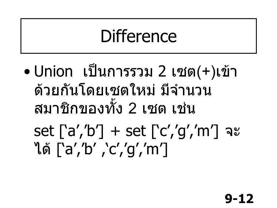 9-12 Difference Union เป็นการรวม 2 เซต (+) เข้า ด้วยกันโดยเซตใหม่ มีจำนวน สมาชิกของทั้ง 2 เซต เช่น set ['a','b'] + set ['c','g','m'] จะ ได้ ['a','b','