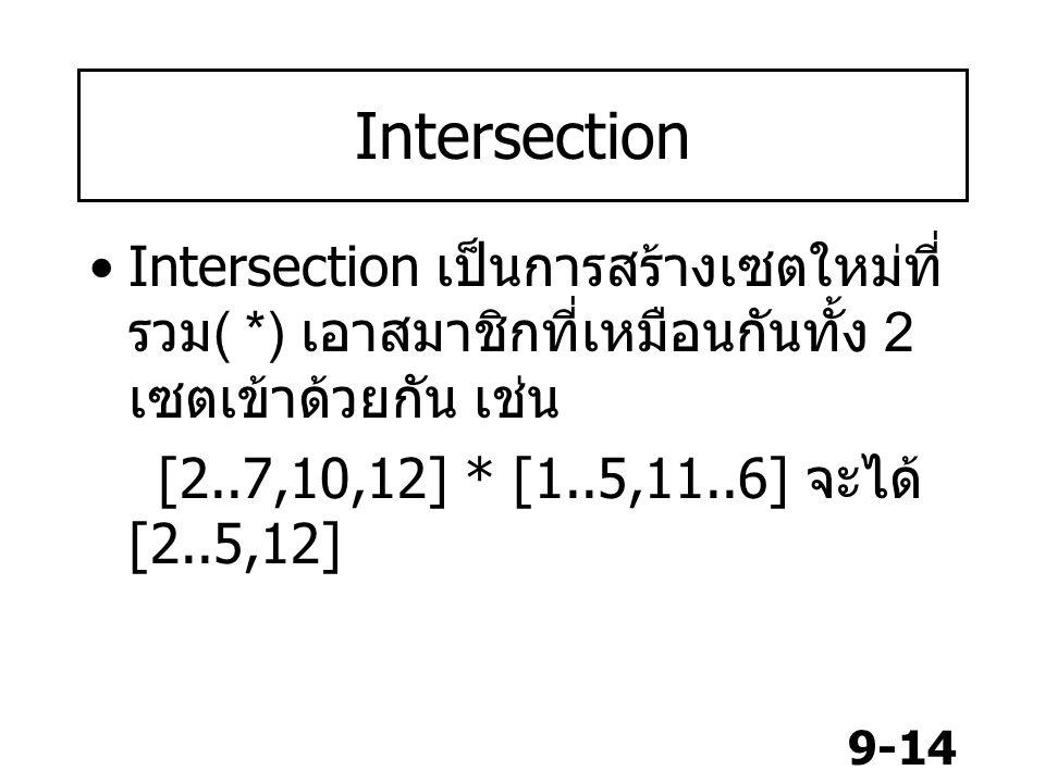 9-14 Intersection Intersection เป็นการสร้างเซตใหม่ที่ รวม ( *) เอาสมาชิกที่เหมือนกันทั้ง 2 เซตเข้าด้วยกัน เช่น [2..7,10,12] * [1..5,11..6] จะได้ [2..5