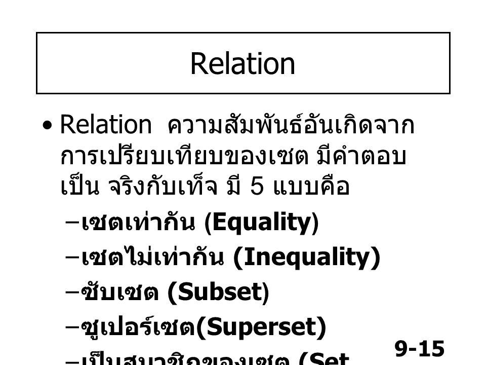 9-15 Relation Relation ความสัมพันธ์อันเกิดจาก การเปรียบเทียบของเซต มีคำตอบ เป็น จริงกับเท็จ มี 5 แบบคือ – เซตเท่ากัน (Equality) – เซตไม่เท่ากัน (Inequality) – ซับเซต (Subset) – ซูเปอร์เซต (Superset) – เป็นสมาชิกของเซต (Set member)