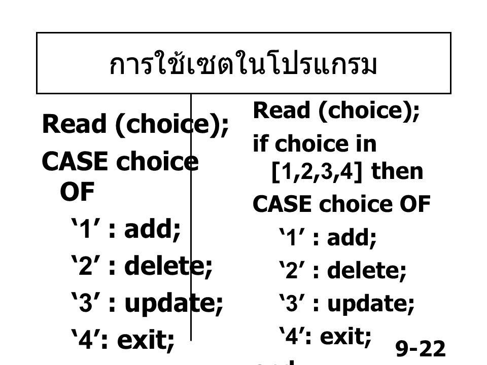 9-22 การใช้เซตในโปรแกรม Read (choice); CASE choice OF '1' : add; '2' : delete; '3' : update; '4': exit; end; Read (choice); if choice in [1,2,3,4] then CASE choice OF '1' : add; '2' : delete; '3' : update; '4': exit; end;