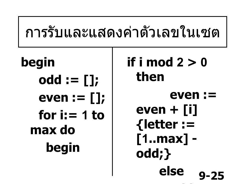 9-25 การรับและแสดงค่าตัวเลขในเซต begin odd := []; even := []; for i:= 1 to max do begin if i mod 2 > 0 then even := even + [i] {letter := [1..max] - odd;} else odd := odd + [i] end;