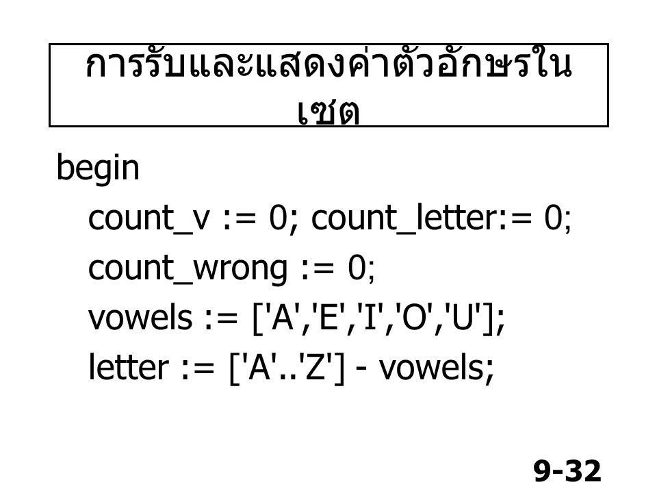 9-32 การรับและแสดงค่าตัวอักษรใน เซต begin count_v := 0; count_letter:= 0; count_wrong := 0; vowels := [ A , E , I , O , U ]; letter := [ A .. Z ] - vowels;