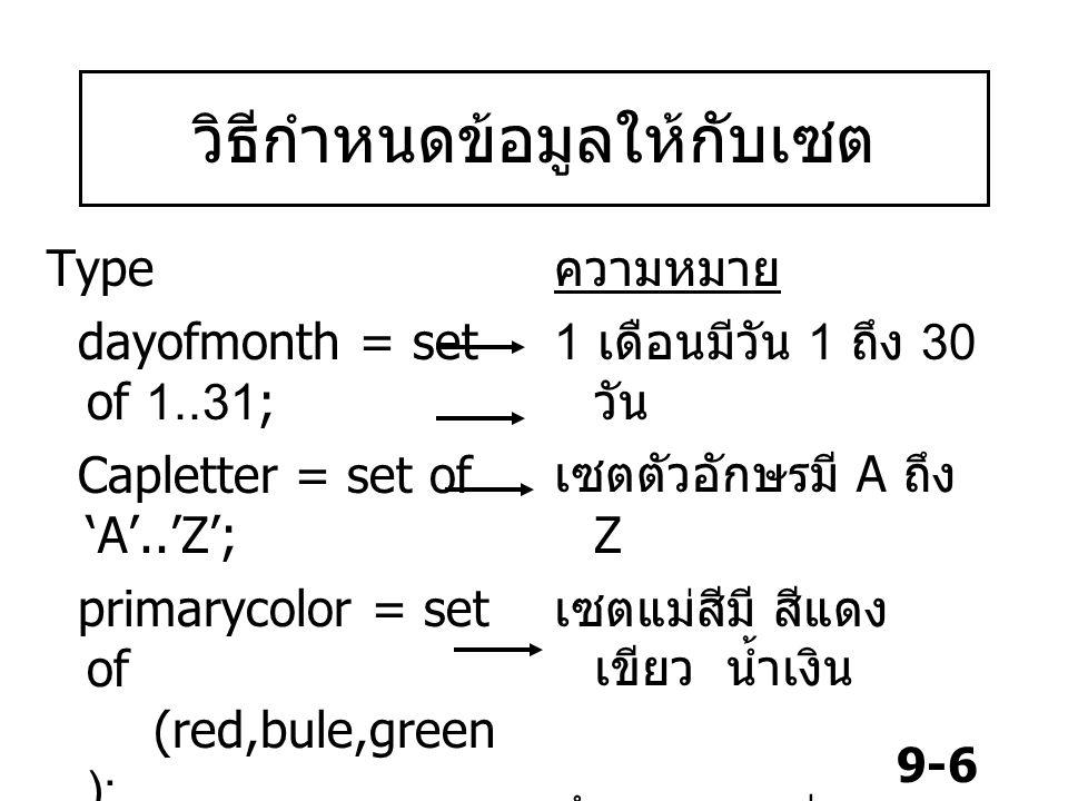 9-6 วิธีกำหนดข้อมูลให้กับเซต Type dayofmonth = set of 1..31; Capletter = set of 'A'..'Z'; primarycolor = set of (red,bule,green ); day=(mon,tue,wed,t
