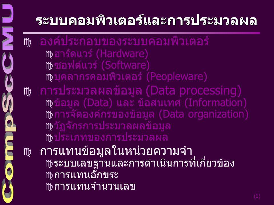 (22) การแทนรหัสข้อมูล ] รหัส (Code) หมายถึงสัญลักษณ์ในการแทนข่าวสาร หรือข้อมูลในรูปแบบที่เหมาะสม ] รหัสมีความจำเป็นอย่างมากเกี่ยวกับการติดต่อ ระหว่างผู้ใช้กับเครื่องคอมพิวเตอร์ ] การประมวลผลข้อมูลโดยเขียนคำสั่งควบคุมให้ เครื่องคอมพิวเตอร์ทำงานที่เราต้องการ หรือส่ง ข้อมูลเข้าไปให้เครื่องคอมพิวเตอร์ประมวลผล ] ตัวอย่างเช่น การให้รหัสแก่ข้อมูลเพศของนักศึกษา โดยกำหนดเป็น ' F ' แทนเพศหญิง ' M ' แทนเพศชาย