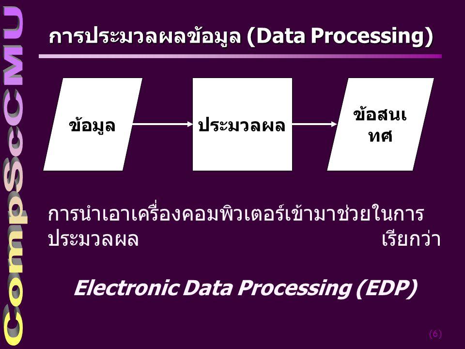 (6) การประมวลผลข้อมูล (Data Processing) ข้อมูล ข้อสนเ ทศ ประมวลผล การนำเอาเครื่องคอมพิวเตอร์เข้ามาช่วยในการ ประมวลผล เรียกว่า Electronic Data Processing (EDP)