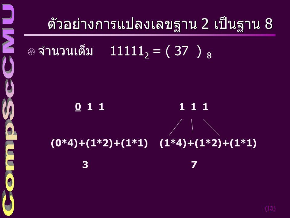 (13) ตัวอย่างการแปลงเลขฐาน 2 เป็นฐาน 8 { จำนวนเต็ม 11111 2 = ( 37 ) 8 0 1 1 (0*4)+(1*2)+(1*1) 37 1 1 1 (1*4)+(1*2)+(1*1)