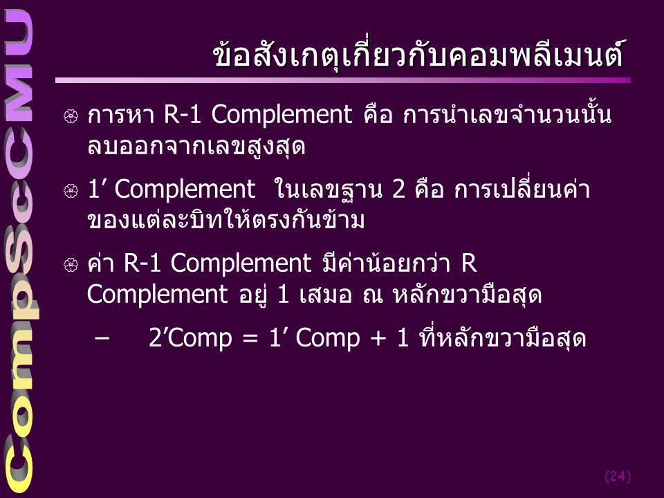 (24) ข้อสังเกตุเกี่ยวกับคอมพลีเมนต์์ { การหา R-1 Complement คือ การนำเลขจำนวนนั้น ลบออกจากเลขสูงสุด { 1' Complement ในเลขฐาน 2 คือ การเปลี่ยนค่า ของแต