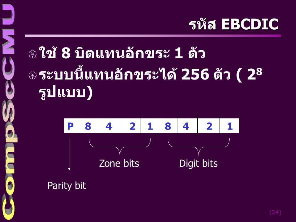 (34) รหัส EBCDIC { ใช้ 8 บิตแทนอักขระ 1 ตัว { ระบบนี้แทนอักขระได้ 256 ตัว ( 2 8 รูปแบบ) P 8 4 2 1 8 4 2 1 Zone bits Digit bits Parity bit
