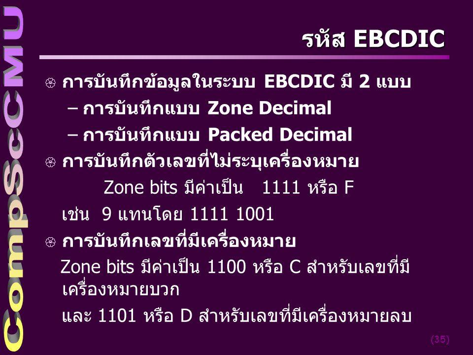 (35) รหัส EBCDIC { การบันทึกข้อมูลในระบบ EBCDIC มี 2 แบบ –การบันทึกแบบ Zone Decimal –การบันทึกแบบ Packed Decimal { การบันทึกตัวเลขที่ไม่ระบุเครื่องหมา