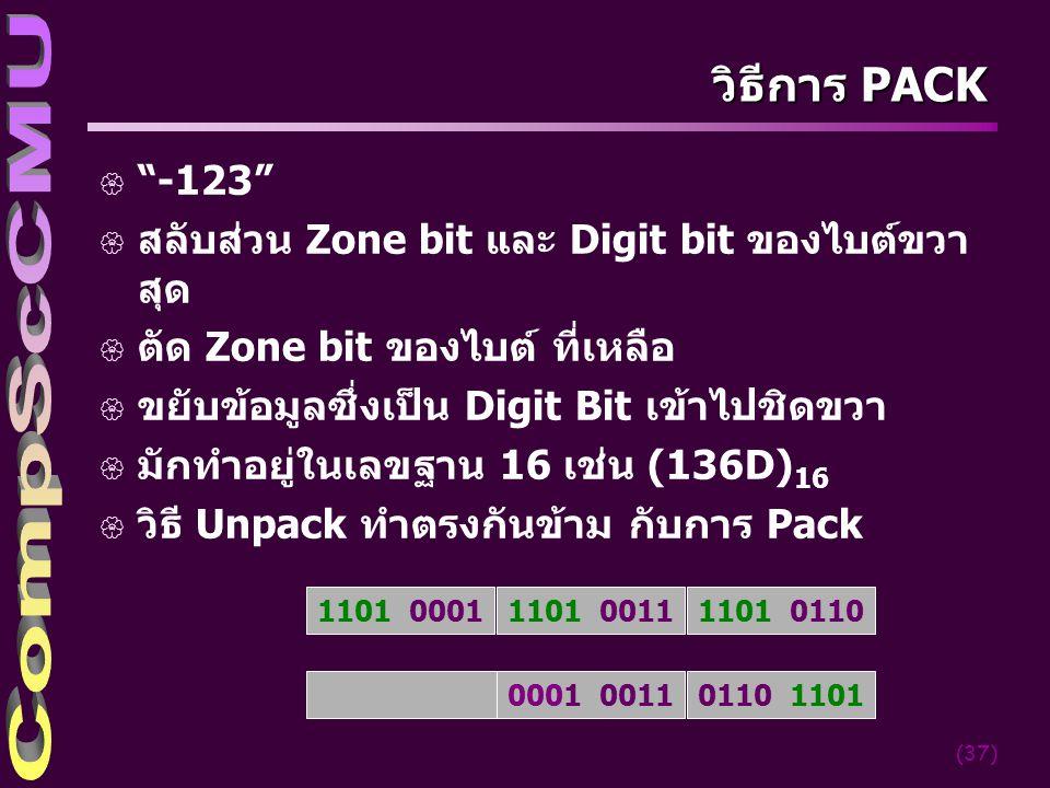 """(37) วิธีการ PACK { """"-123"""" { สลับส่วน Zone bit และ Digit bit ของไบต์ขวา สุด { ตัด Zone bit ของไบต์ ที่เหลือ { ขยับข้อมูลซึ่งเป็น Digit Bit เข้าไปชิดขว"""