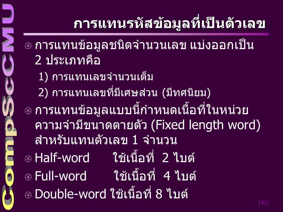 (41) การแทนรหัสข้อมูลที่เป็นตัวเลข { การแทนข้อมูลชนิดจำนวนเลข แบ่งออกเป็น 2 ประเภทคือ 1) การแทนเลขจำนวนเต็ม 2) การแทนเลขที่มีเศษส่วน (มีทศนิยม) { การแ