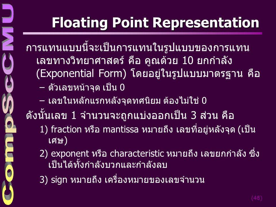 (48) Floating Point Representation การแทนแบบนี้จะเป็นการแทนในรูปแบบของการแทน เลขทางวิทยาศาสตร์ คือ คูณด้วย 10 ยกกำลัง (Exponential Form) โดยอยู่ในรูปแ