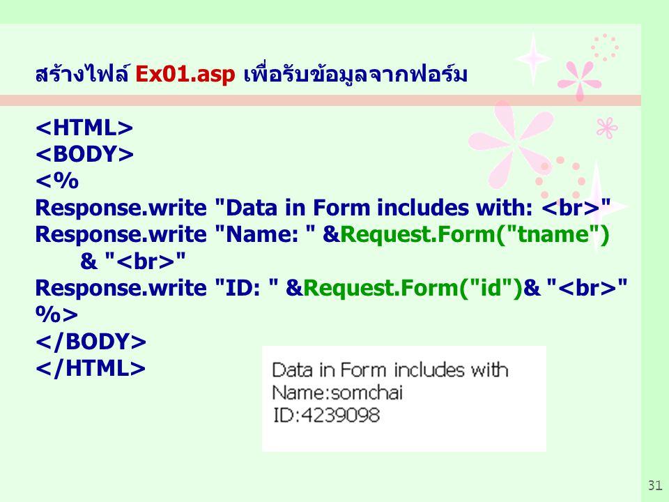 31 สร้างไฟล์ Ex01.asp เพื่อรับข้อมูลจากฟอร์ม <% Response.write Data in Form includes with: Response.write Name: &Request.Form( tname ) & Response.write ID: &Request.Form( id )& %>