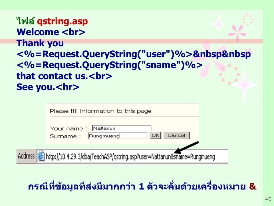 40 ไฟล์ qstring.asp Welcome Thank you &nbsp&nbsp that contact us.