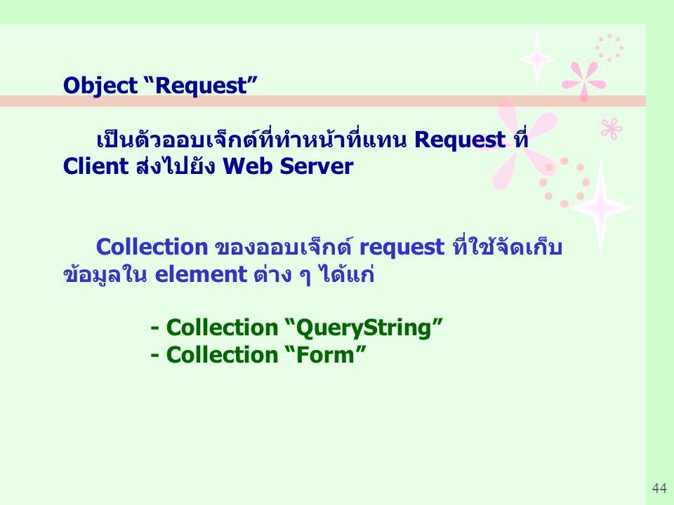 44 Object Request เป็นตัวออบเจ็กต์ที่ทำหน้าที่แทน Request ที่ Client ส่งไปยัง Web Server Collection ของออบเจ็กต์ request ที่ใช้จัดเก็บ ข้อมูลใน element ต่าง ๆ ได้แก่ - Collection QueryString - Collection Form