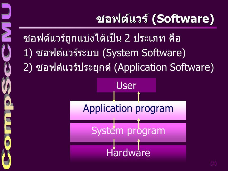 (4) ซอฟต์แวร์ระบบ (System Software) โปรแกรมที่ทำหน้าที่ควบคุมจัดการอุปกรณ์และหน่วย ต่างๆในระบบคอมพิวเตอร์แบ่งออกเป็น 2 ประเภทคือ –โปรแกรมระบบปฏิบัติการ (Operating System: OS) เช่น DOS, WINDOWS, UNIX, Linux เป็นต้น –โปรแกรมอรรถประโยชน์ (Utility Program) เป็น โปรแกรมที่ช่วยอำนวยความสะดวกแก่ผู้ใช้เครื่อง คอมพิวเตอร์ เช่น โปรแกรมสำหรับการเรียงลำดับ ข้อมูล (Sort) โปรแกรมเกี่ยวกับการสำเนาข้อมูล (Copy) เป็นต้น และหมายรวมถึงตัวแปลภาษา ต่างๆ (Language Translators)