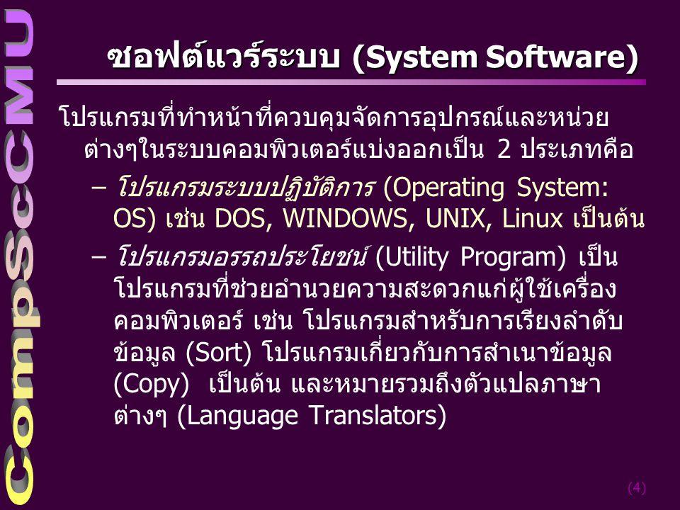 (5) ระบบปฏิบัติการ(Operating System) ซอฟต์แวร์ประจำเครื่องคอมพิวเตอร์ทุกเครื่อง ทำหน้าที่ เป็นผู้จัดการคอยควบคุมดูแลการ ทำงานของคอมพิวเตอร์ตลอดเวลา หน้าที่หลัก – เป็นตัวกลางระหว่างผู้ใช้กับเครื่อง – แปลคำสั่ง และรับไปดำเนินการ – ควบคุมดูแลการจัดการแฟ้มข้อมูล, การจัดสรร หน่วยความจำ, การใช้ฮาร์ดแวร์ส่วนต่างๆ