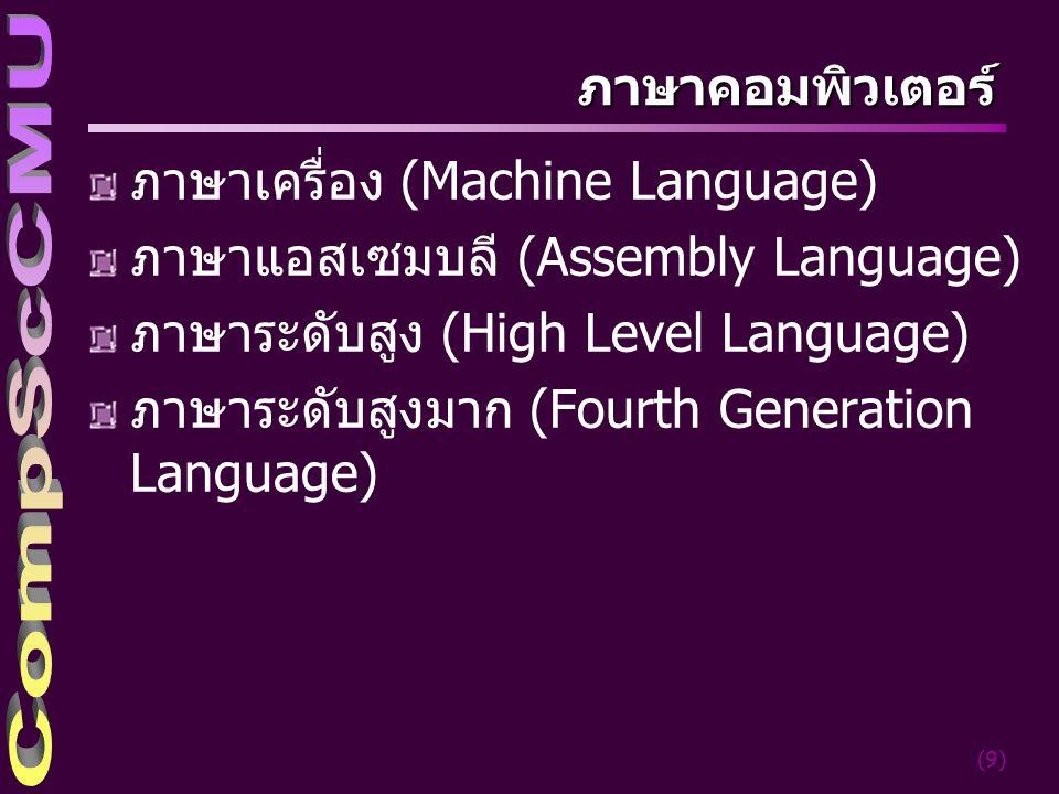 (10) ภาษาเครื่อง (Machine Language) อยู่ในรูปเลขฐานสอง หน่วยควบคุม(CU) ใน CPU สามารถ ตีความและปฏิบัติงานได้ทันที อ้างถึงข้อมูลที่ตำแหน่งใดๆ ก็ได้ ต้องสั่งงานทุกขั้นตอน 01011000 00110000 11000000 00000000 01011000 01000000 11000000 00000100 00011010 00110100 01010000 00110000 11000000 00001000