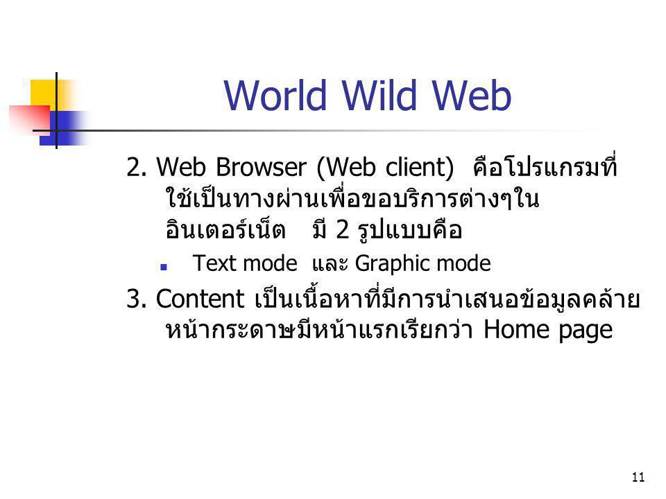 11 World Wild Web 2. Web Browser (Web client) คือโปรแกรมที่ ใช้เป็นทางผ่านเพื่อขอบริการต่างๆใน อินเตอร์เน็ต มี 2 รูปแบบคือ Text mode และ Graphic mode