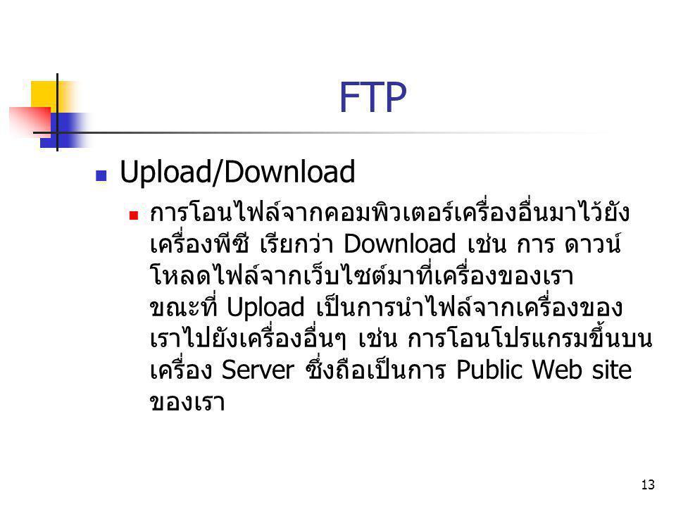 13 FTP Upload/Download การโอนไฟล์จากคอมพิวเตอร์เครื่องอื่นมาไว้ยัง เครื่องพีซี เรียกว่า Download เช่น การ ดาวน์ โหลดไฟล์จากเว็บไซต์มาที่เครื่องของเรา