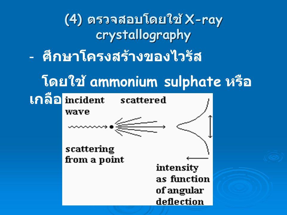 (4) ตรวจสอบโดยใช้ X-ray crystallography - ศึกษาโครงสร้างของไวรัส โดยใช้ ammonium sulphate หรือ เกลือ