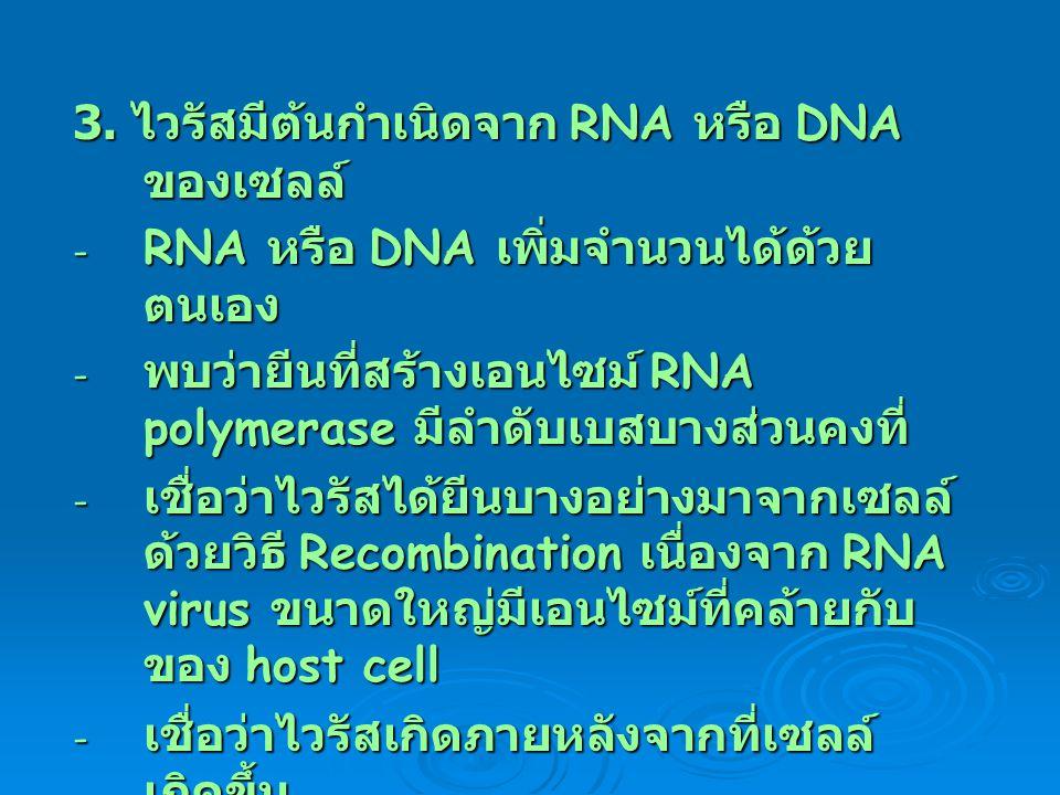 3. ไวรัสมีต้นกำเนิดจาก RNA หรือ DNA ของเซลล์ - RNA หรือ DNA เพิ่มจำนวนได้ด้วย ตนเอง - พบว่ายีนที่สร้างเอนไซม์ RNA polymerase มีลำดับเบสบางส่วนคงที่ -