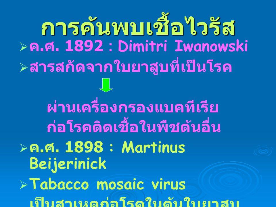 การค้นพบเชื้อไวรัส   ค. ศ. 1892 : Dimitri Iwanowski   สารสกัดจากใบยาสูบที่เป็นโรค ผ่านเครื่องกรองแบคทีเรีย ก่อโรคติดเชื้อในพืชต้นอื่น   ค. ศ. 18