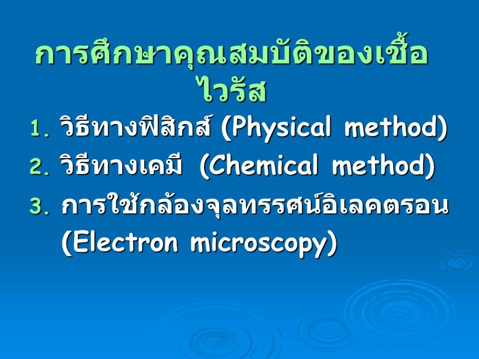การศึกษาคุณสมบัติของเชื้อ ไวรัส 1. วิธีทางฟิสิกส์ (Physical method) 2. วิธีทางเคมี (Chemical method) 3. การใช้กล้องจุลทรรศน์อิเลคตรอน (Electron micros