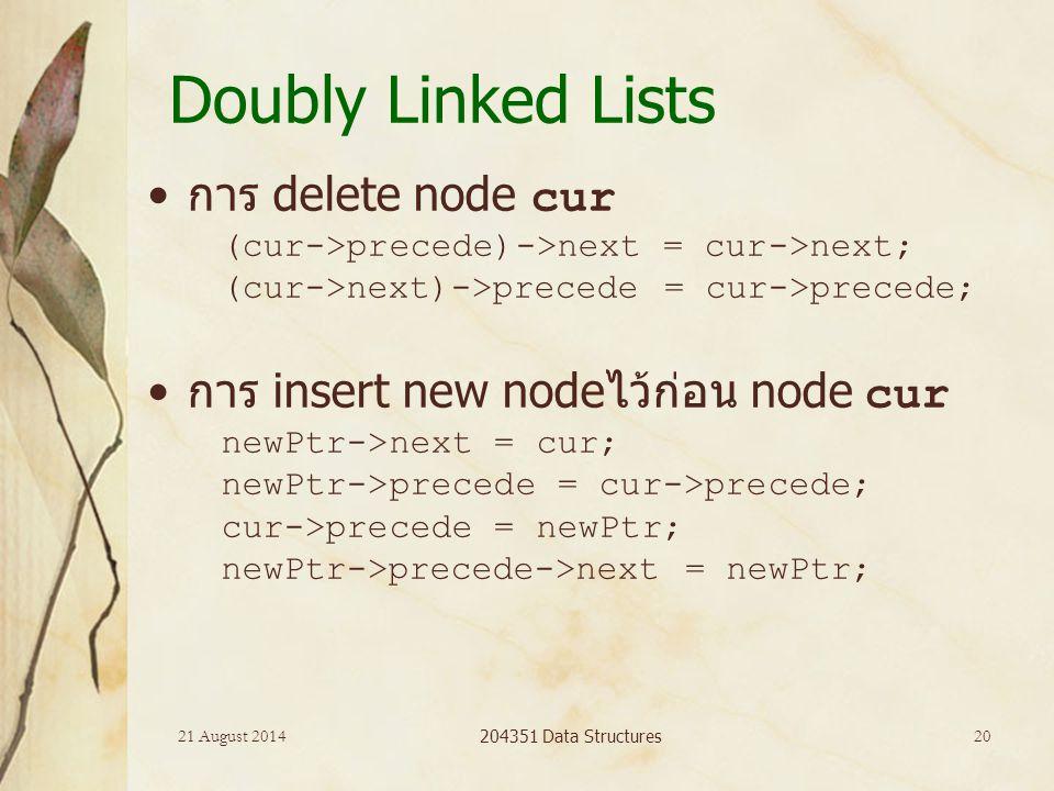 21 August 2014 204351 Data Structures 20 Doubly Linked Lists การ delete node cur (cur->precede)->next = cur->next; (cur->next)->precede = cur->precede; การ insert new nodeไว้ก่อน node cur newPtr->next = cur; newPtr->precede = cur->precede; cur->precede = newPtr; newPtr->precede->next = newPtr;