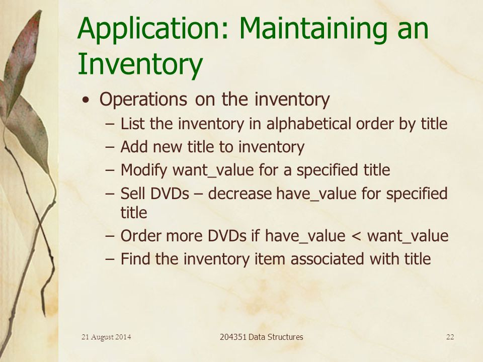 21 August 2014 204351 Data Structures 22 Application: Maintaining an Inventory Operations on the inventory –List the inventory in alphabetical order b