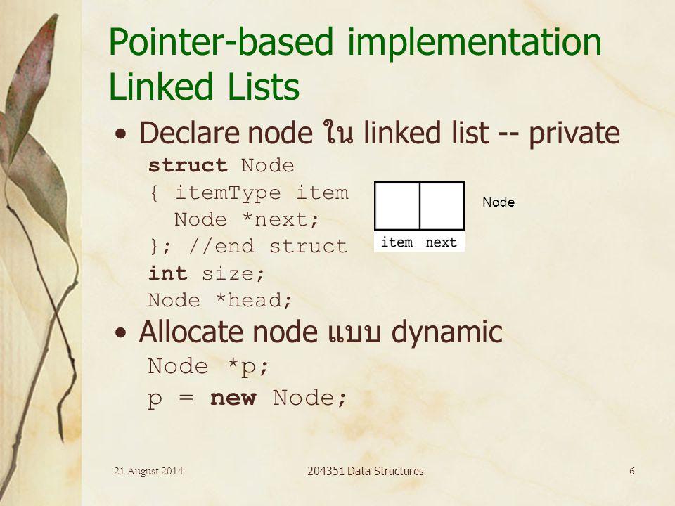 21 August 2014 204351 Data Structures 7 Pointer-based implementation Insert ที่ head Insert ที่ตำแหน่งใดๆ Insert ที่ตำแหน่งท้ายสุด