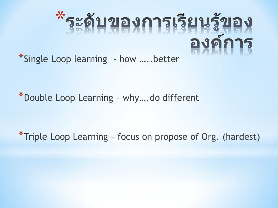 * Single Loop learning - how …..better * Double Loop Learning – why….do different * Triple Loop Learning – focus on propose of Org. (hardest)