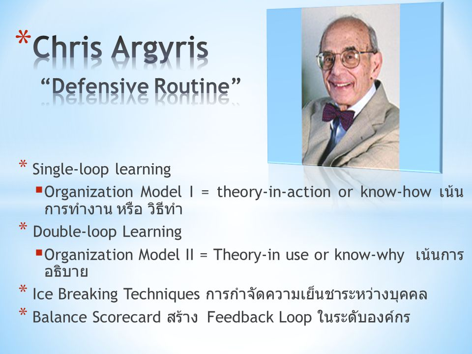 * Single-loop learning  Organization Model I = theory-in-action or know-how เน้น การทำงาน หรือ วิธีทำ * Double-loop Learning  Organization Model II
