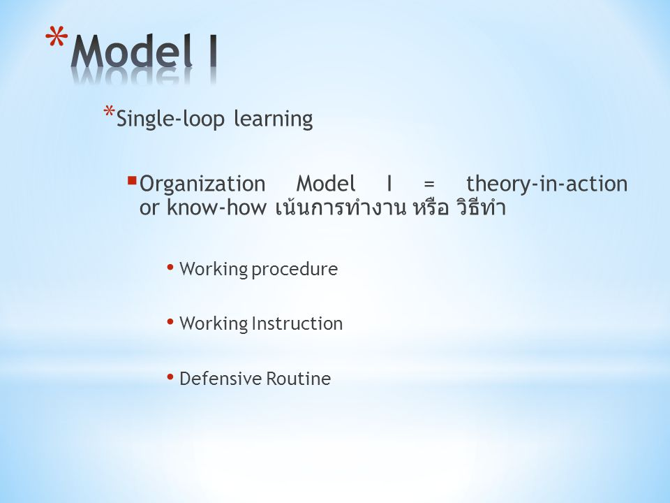 * Single-loop learning  Organization Model I = theory-in-action or know-how เน้นการทำงาน หรือ วิธีทำ Working procedure Working Instruction Defensive Routine