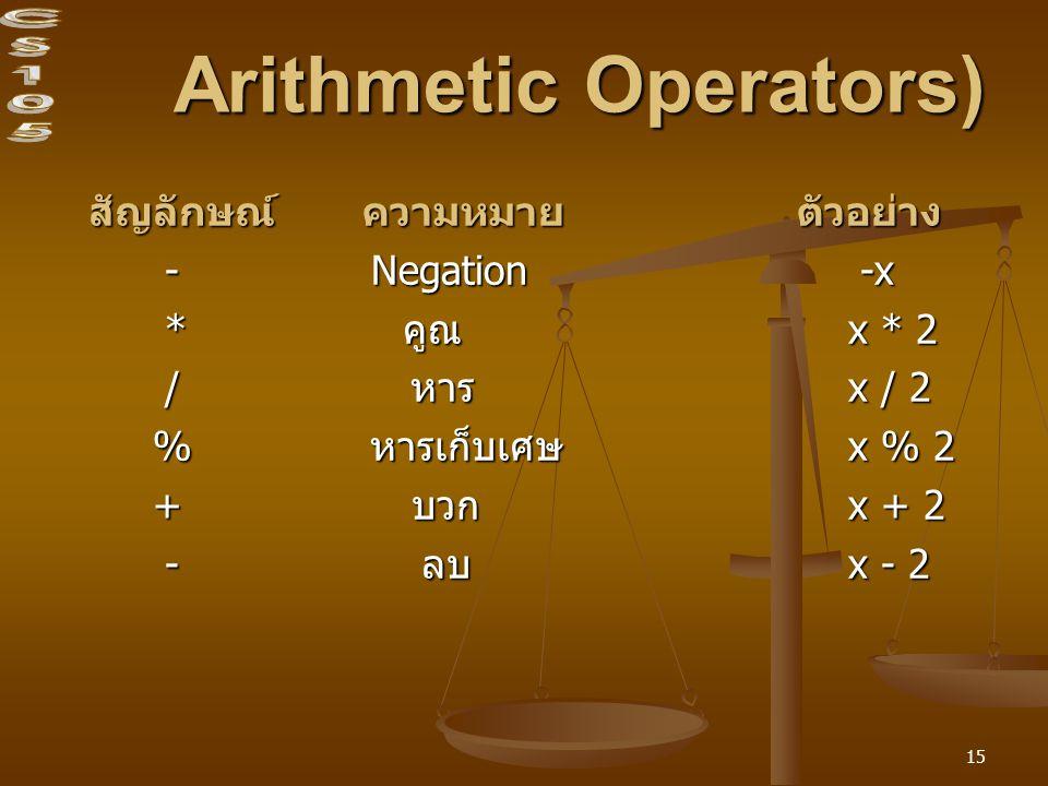 15 Arithmetic Operators) สัญลักษณ์ ความหมาย ตัวอย่าง สัญลักษณ์ ความหมาย ตัวอย่าง - Negation -x - Negation -x * คูณ x * 2 * คูณ x * 2 / หาร x / 2 / หาร